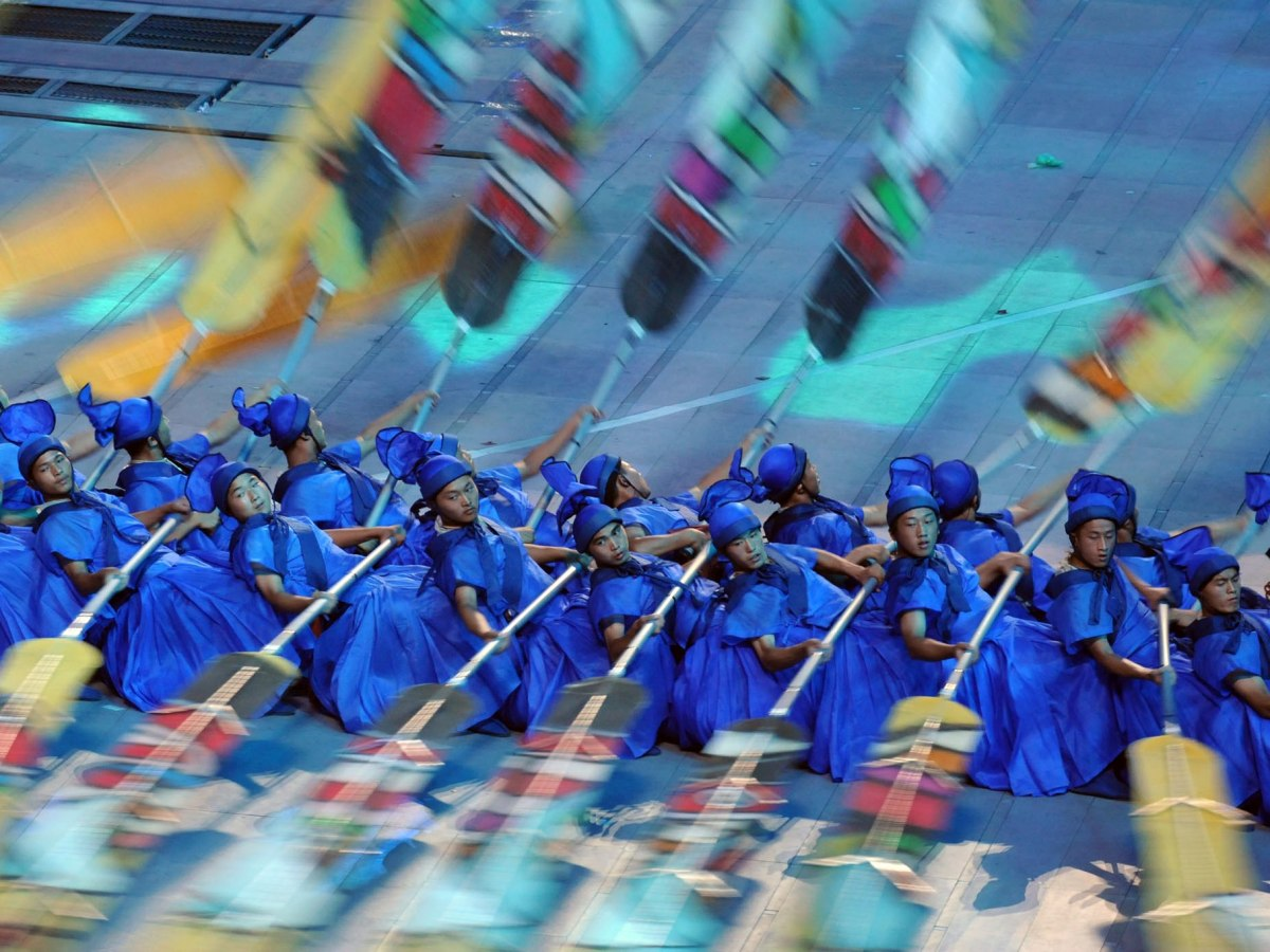 Rowers at the opening ceremony of the 2008 Olympics in Beijing recreate the voyages of Chinese explorer Zheng He. Photo: Wikimedia Commons