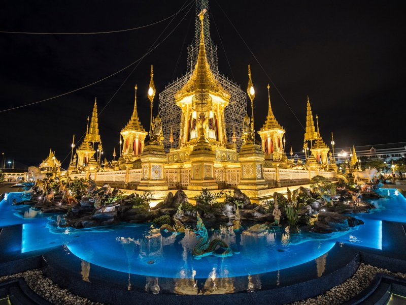 The main edifice of the cremation site for Thailand's late king Bhumibol Adulyadej is surrounded by a shallow pool. Photo: AFP/ Roberto Schmidt