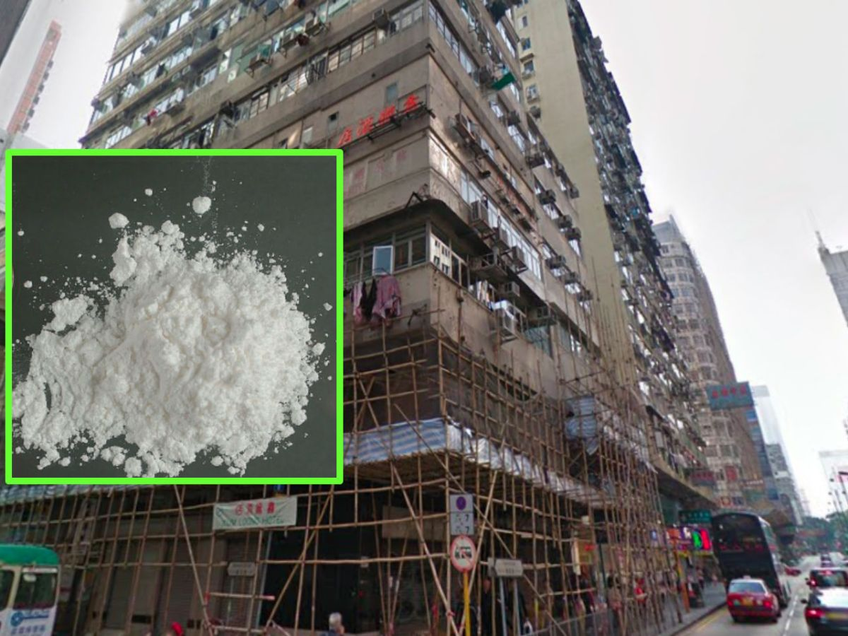 Suspected cocaine (inset) and meth worth a large sum was found in a flat in Yau Ma Tei in Kowloon on Friday night. Photo: Google Maps, Wikimedia Commons
