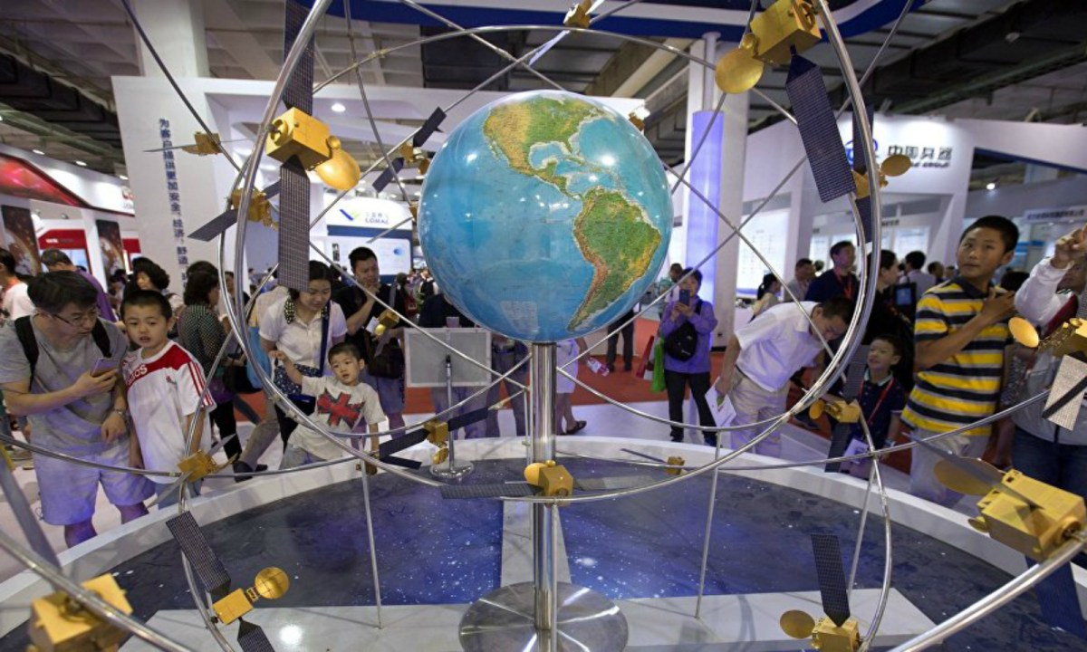 A model of China's BeiDou positioning system. Photo: Xinhua