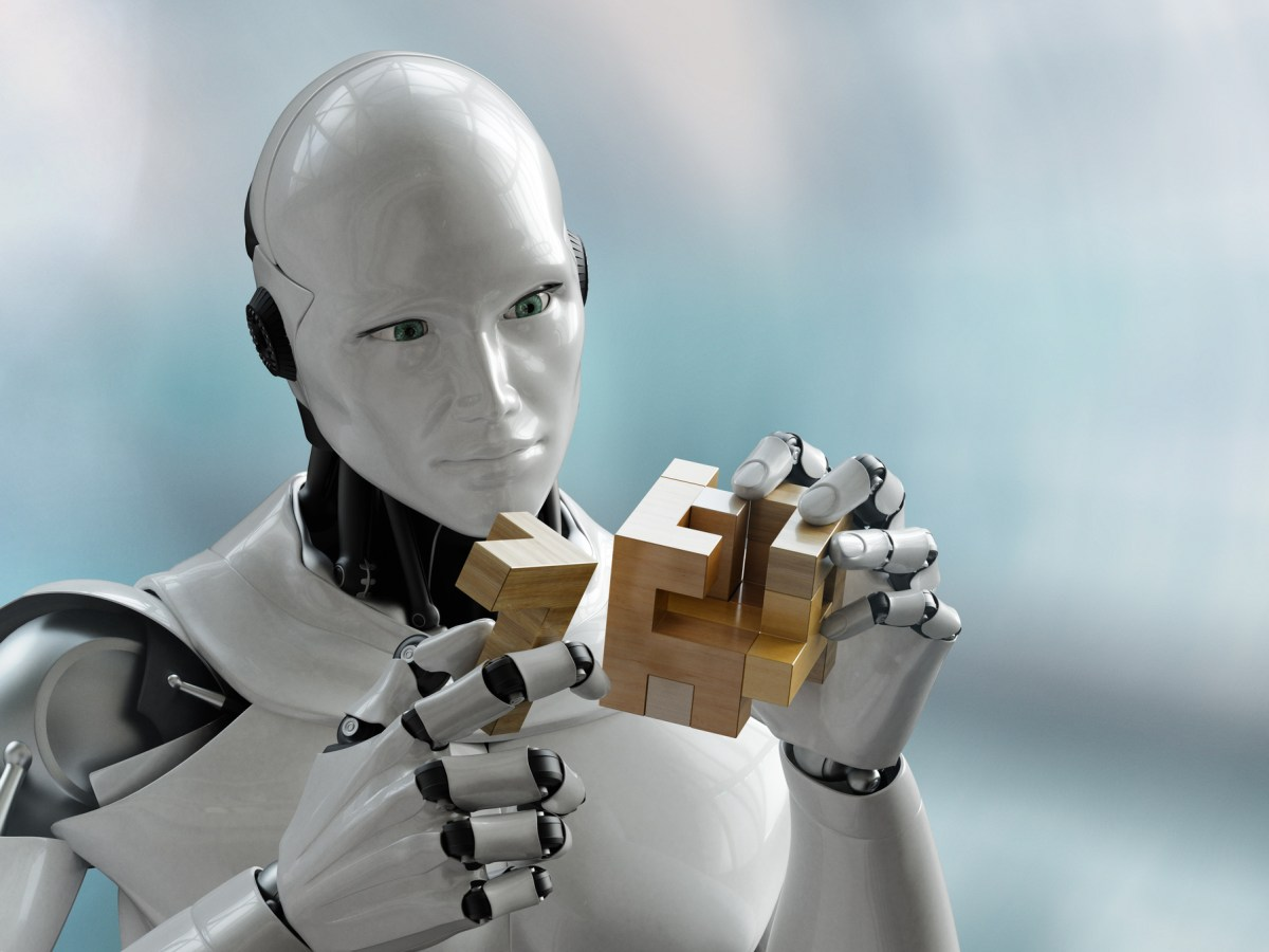 3D render of a robot trying to solve a wooden cube puzzle. Photo: iStock
