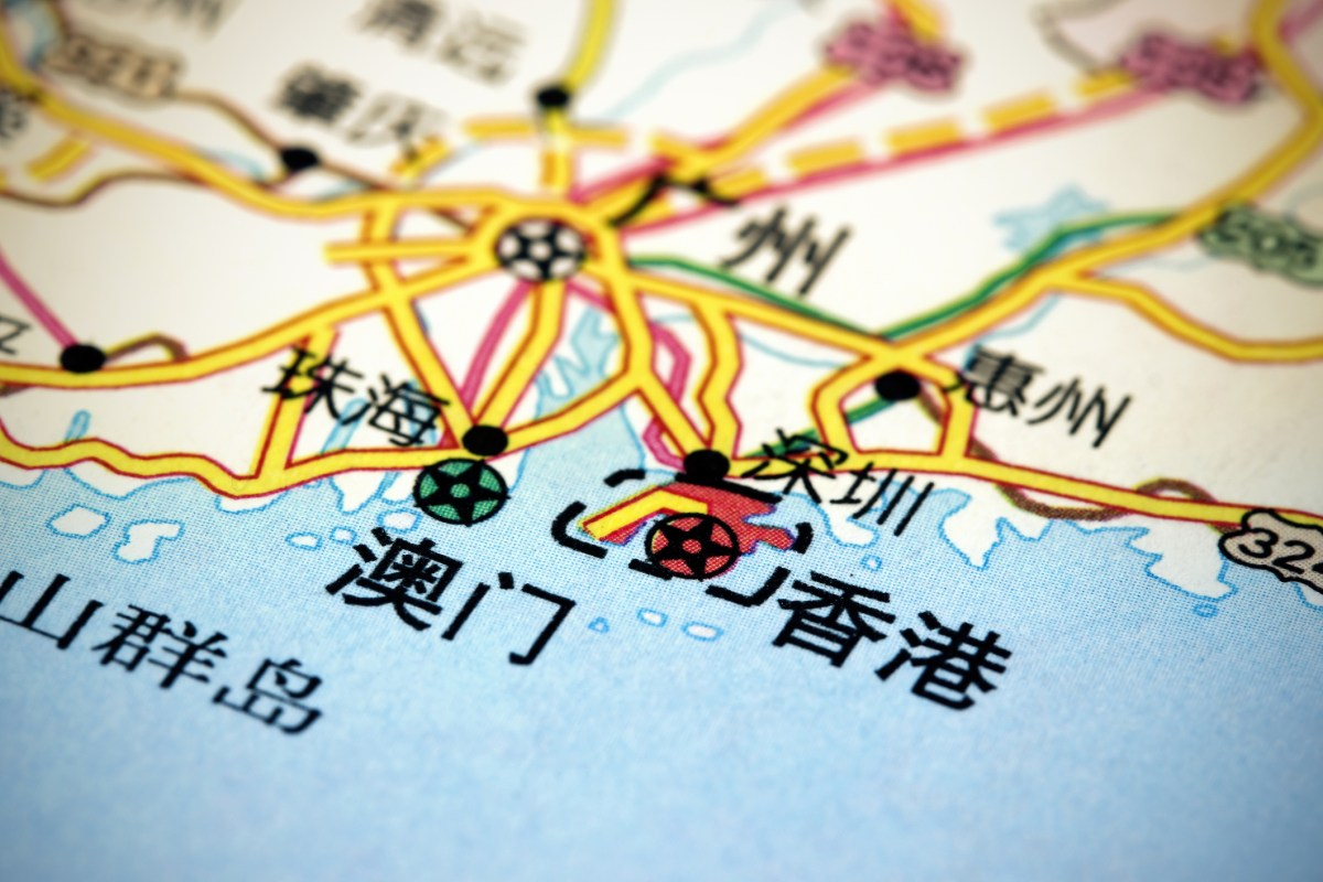 Macro picture of a map showing the Pearl RiverDelta area with Hong Kong and Macau. Photo: iStock