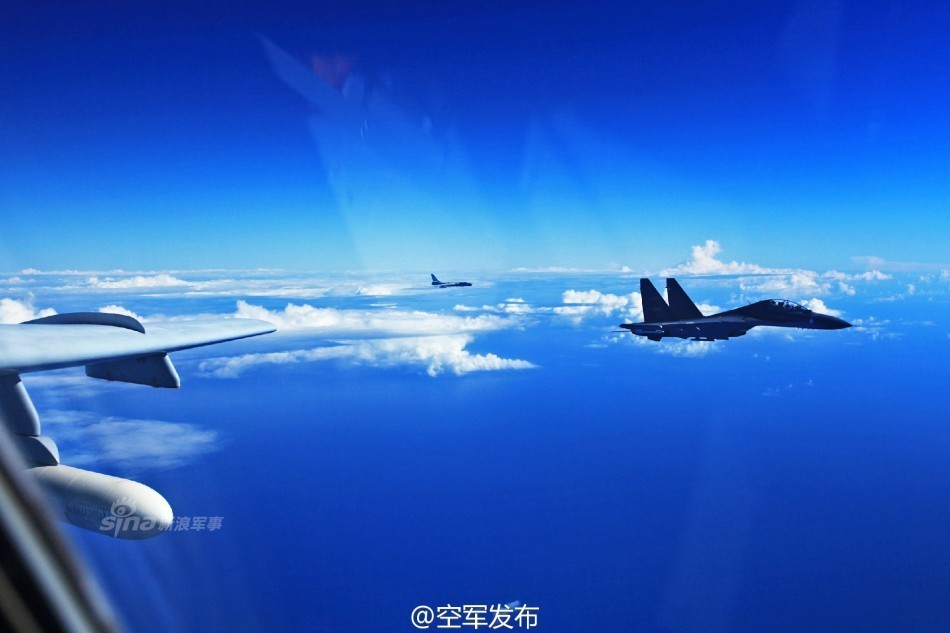 A photo released by the PLAAF shows warplanes above the Bashi Strait.