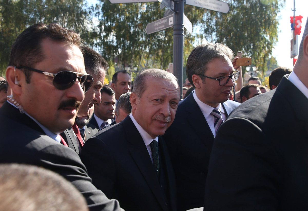 Turkish President Erdogan looks on as he walks next to Serbia's President Aleksandar Vucic during his recent visit to Serbia. Photo: Reuters/Marko Djurica