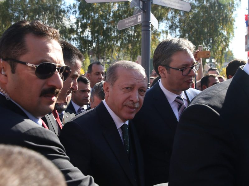 Turkish President Erdogan looks on as he walks next to Serbia's President Aleksandar Vucic during his recent visit to Serbia. Photo: Reuters/Marko Djurica