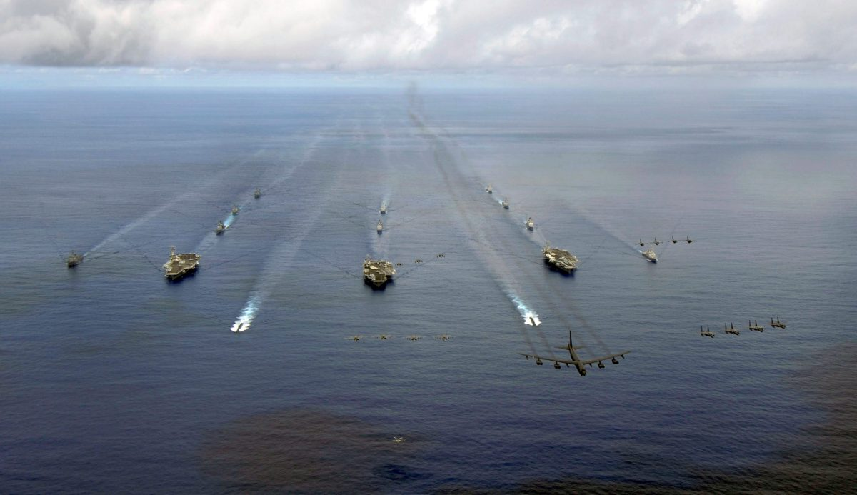 The USS Nimitz, USS Kitty Hawk and USS John C Stennis Carrier Strike Groups transit in formation during a joint exercise in the Pacific Ocean. Photo: US Navy via Reuters/Stephen W Rowe