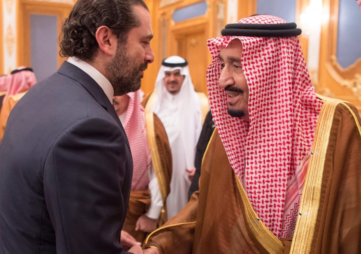 Lebanese Prime Minister Saad al-Hariri shakes hands with Saudi Arabia's King Salman in Riyadh. This photograph was released by the Saudi Royal Court on November 11, 2017. Photo: Handout via Reuters
