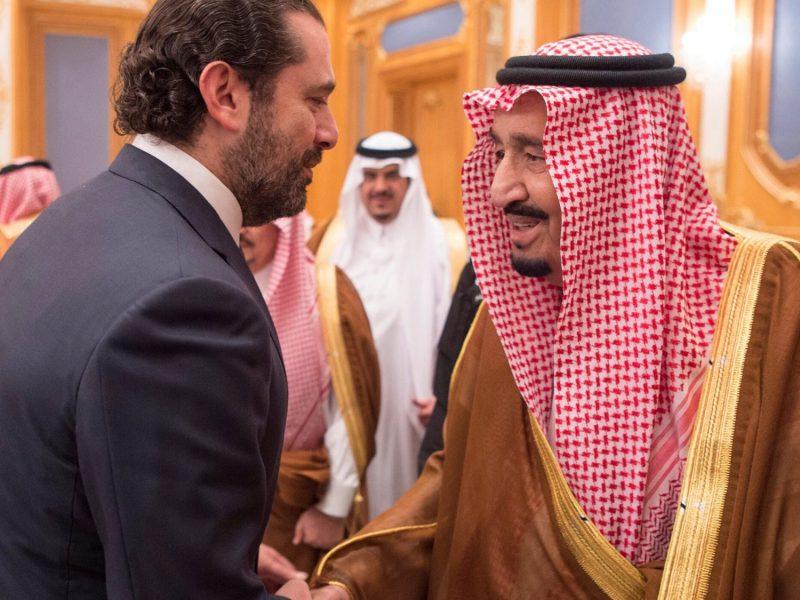 Lebanese Prime Minister Saad al-Hariri shakes hands with Saudi Arabia's King Salman in Riyadh. This photograph was released by the Saudi Royal Court on November 11, 2017. Photo: Handout via Reuters