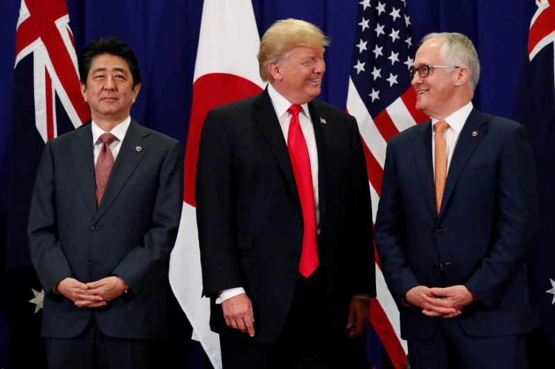 US President Donald Trump holds a trilateral meeting with Japanese Prime Minister Shinzo Abe and Australian Prime Minister Malcolm Turnbull on the sidelines of the ASEAN Summit in Manila on November 13, 2017. Photo: Reuters/Jonathan Ernst