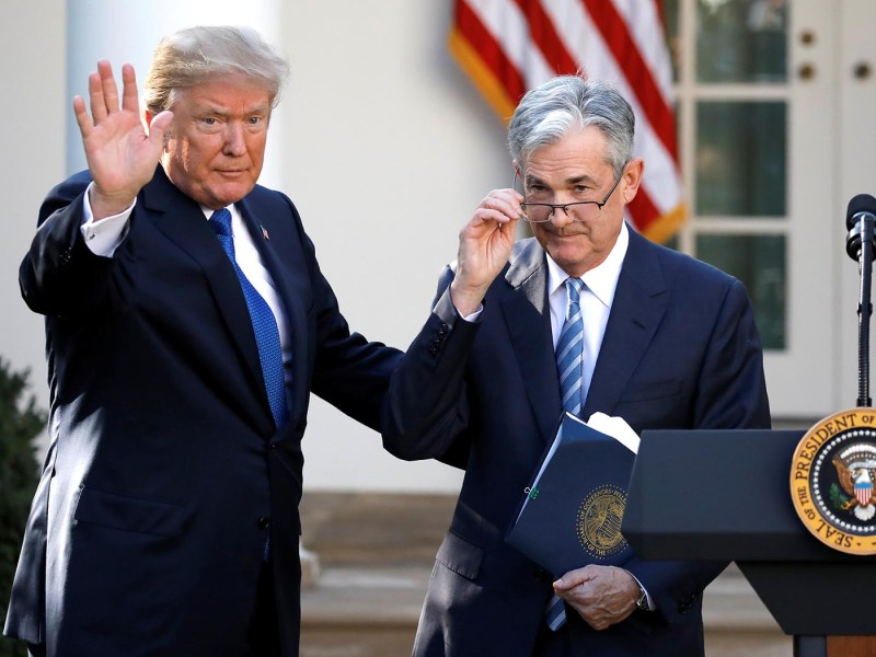 US President Donald Trump at the White House with Fed chairman Jerome Powell Photo: Reuters/Carlos Barria