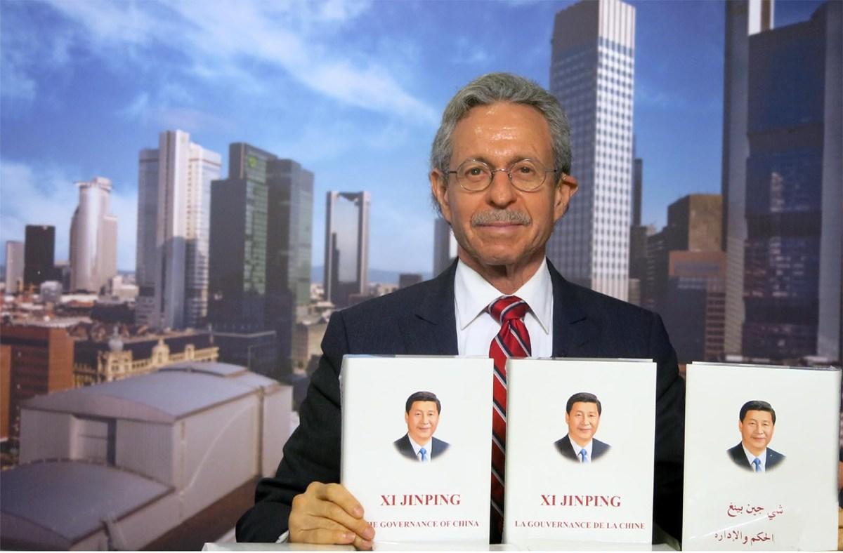 Robert Lawrence Kuhn introducing Xi Jinping's book The Governance of China at the Frankfurt Book Fair in October 2014.