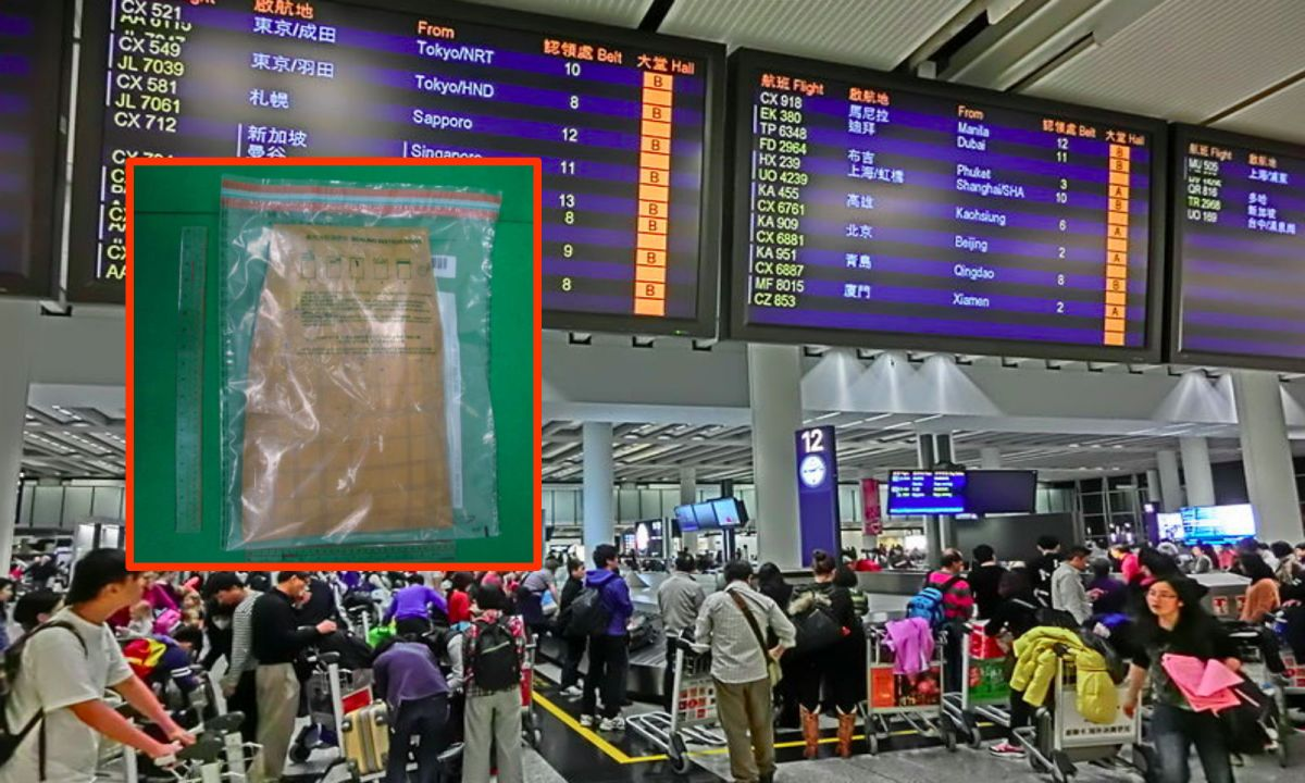 Inset: Suspected cocaine seized at Hong Kong airport. Photo: Wikimedia Commons, HK Government