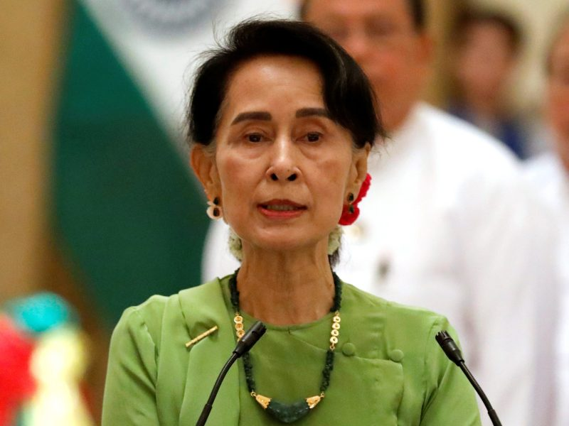 Myanmar State Counselor Aung San Suu Kyi talks during a news conference in Naypyitaw, Myanmar on September 6, 2017. Photo: Reuters/Soe Zeya Tun