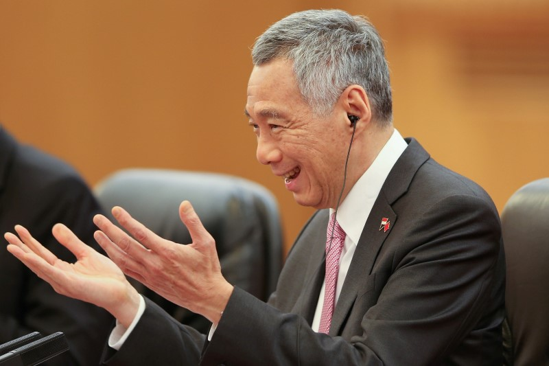 Singapore Prime Minister Lee Hsien Loong attends a meeting with Chinese Premier Li Keqiang (not pictured) at The Great Hall of the People in Beijing, China September 19, 2017. Photo: Reuters/Lintao Zhang/Pool/File Photo