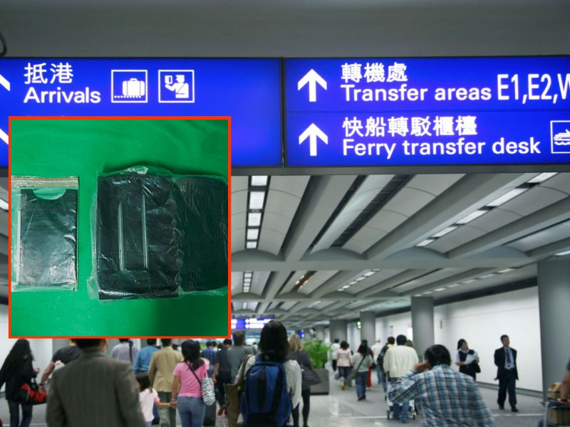 Inset: The suspected cocaine found in the 'false compartment' in a man's luggage at Hong Kong Airport. Photo: istockphoto, HK Govt