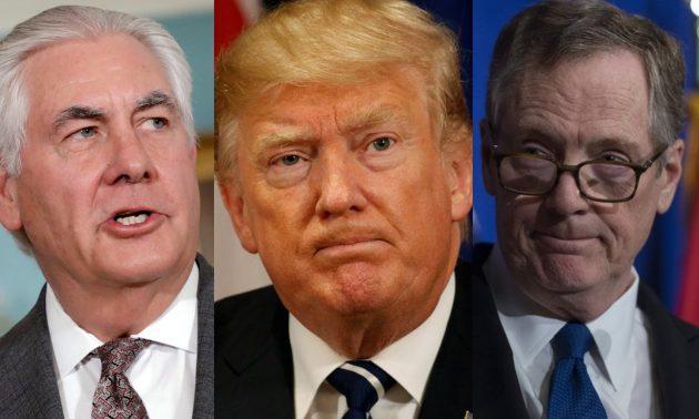 (左起)美国国务卿雷克斯提勒森、总统特朗普和贸易代表罗伯特莱特希泽 相片: Reuters, AFP, Asia Times