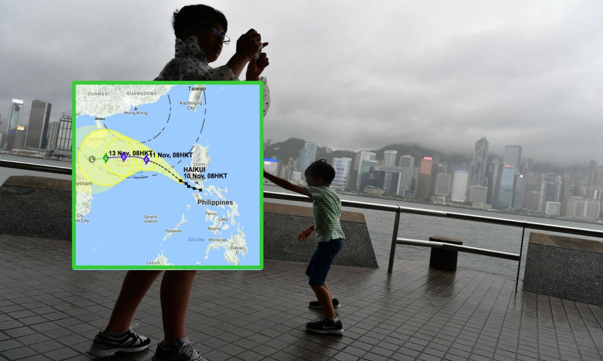 Tsim Sha Tsui in Kowloon with a map plotting the course of Haikui. Photo: HK Government, HK Observatory