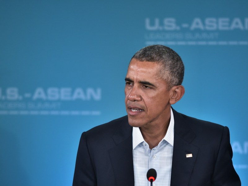 US President Barack Obama takes part in a plenary session on innovation and entrepreneurship during a meeting of the Association of Southeast Asian Nations (ASEAN) at Sunnylands estate on February 15, 2016 in Rancho Mirage, California. Photo: AFP/Mandel Ngan