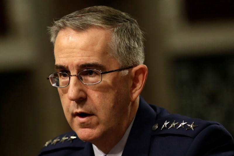 US Air Force General John Hyten, Commander of US Strategic Command, testifying to US lawmakers. Photo: Reuters/Yuri Gripas