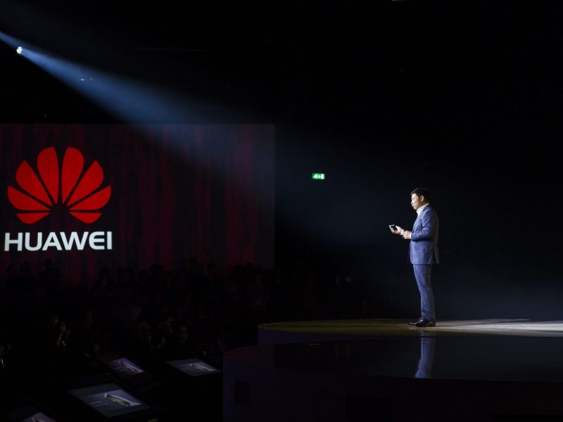 Huawei's Consumer Business CEO Richard Yu addresses an audience at  in London on April 6, 2016. Photo: AFP / Jack Taylor