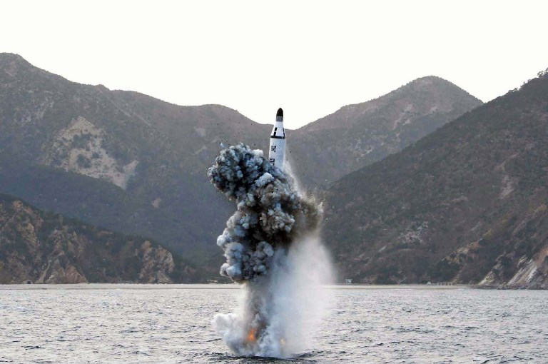 Underwater test-fire of a strategic submarine ballistic missile at an undisclosed location in North Korea on April 23, 2016. Photo: AFP via KCNA