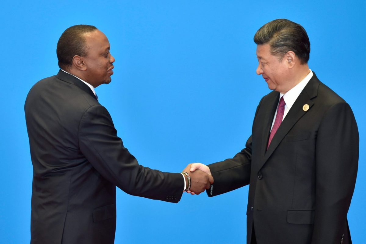 Kenya's President Uhuru Kenyatta (left) shakes hands with China's President Xi Jinping during the welcome ceremony for the Belt and Road Forum, at the International Conference Center in Yanqi Lake, north of Beijing, on May 15, 2017. Photo: AFP / Kenzaburo Fukuhara