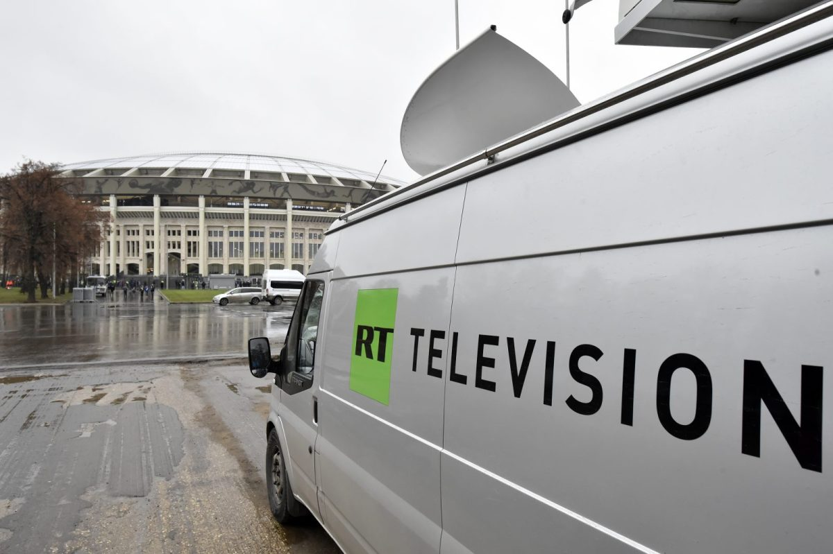 A Russia Today (RT) television broadcast van is pictured in Moscow on November 11, 2017. Photo: AFP / Kirill Kudryavtsev