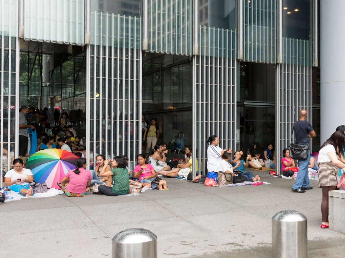 Domestic workers gather in Central, Hong Kong. Photo: iStock