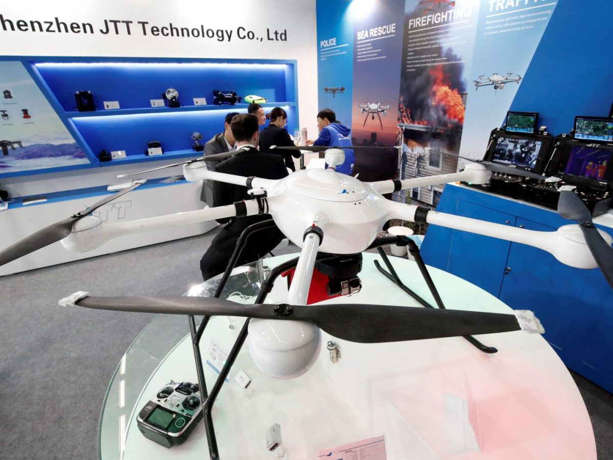 A UAV Drone T60, manufactured by Shenzhen JTT Technology Co., is pictured at a tech fair in Paris, in November 2017. Photo: Reuters / Benoit Tessier