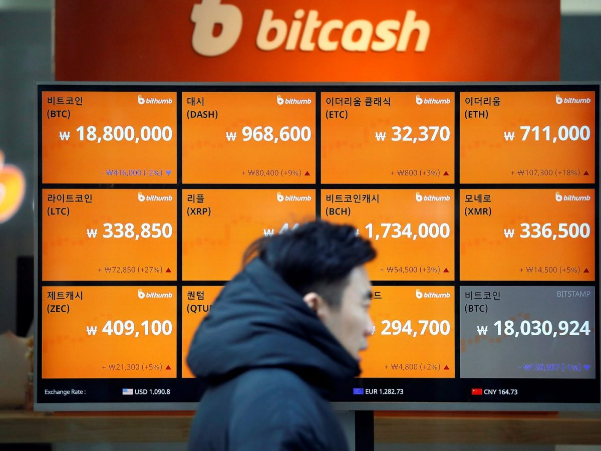 A man walks past a board showing exchange rates of various crypto-currencies in Seoul. Photo: Reuters/Kim Hong-Ji