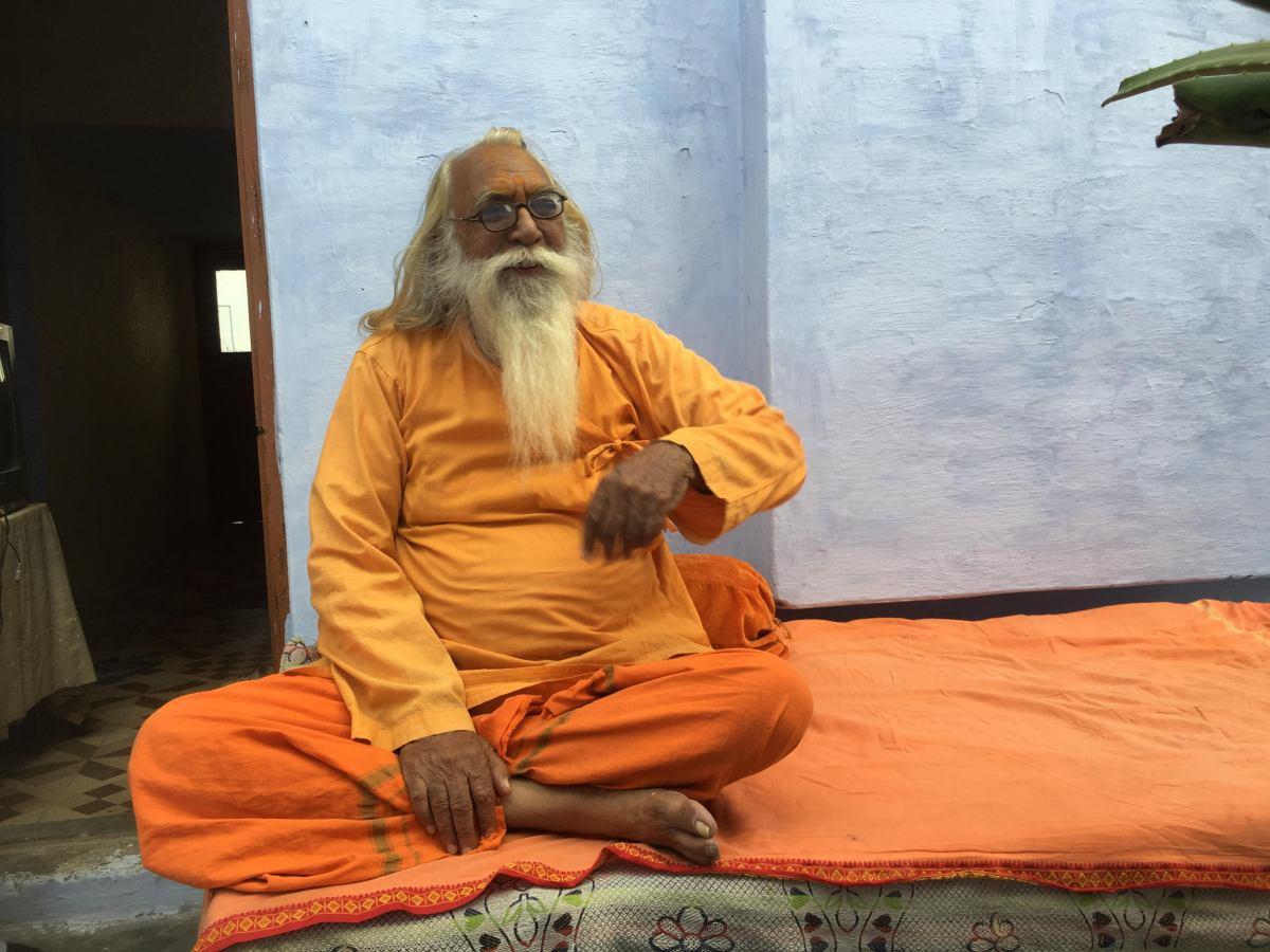 Acharya Satyendra Das is the head priest of the makeshift Ram Janmabhoomi temple at Ayodhya. Photo: Kanchan Srivastava