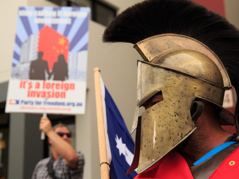 A protester from a right-wing minor political group, the Party of Freedom, dressed as a Spartan at an anti-China demonstration outside the Chinese Consulate in Camperdown, Sydney on May 30, 2015. Photo: Citizenside/Richard Ashen