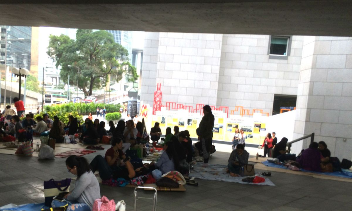 Foreign domestic workers gather in Hong Kong. Photo: Asia Times