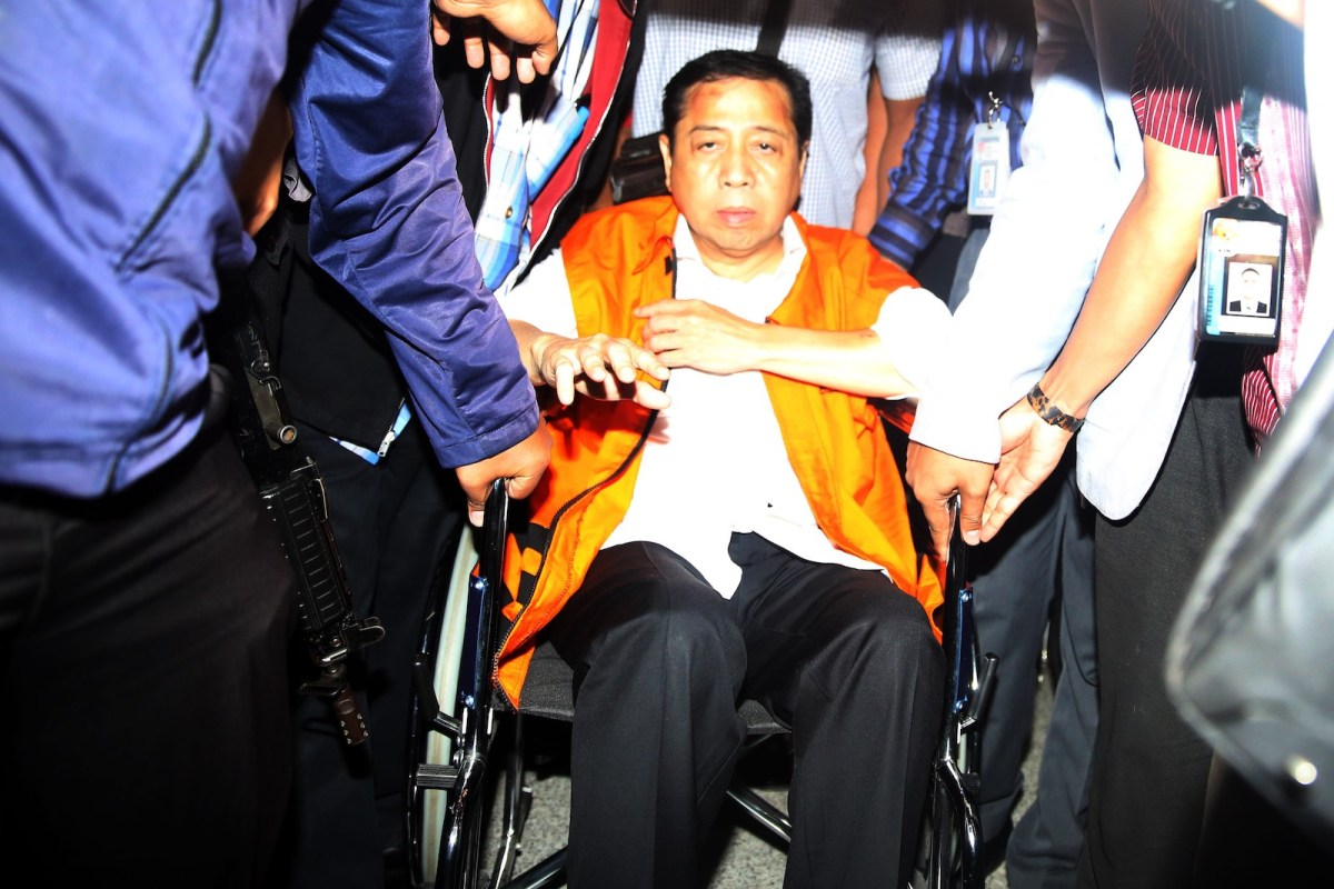 Indonesia's former House of Representatives Speaker Setya Novanto in a wheelchair before a hearing on his corruption charge. Photo: Andalou via AFP/ Eko Siswono Toyudho