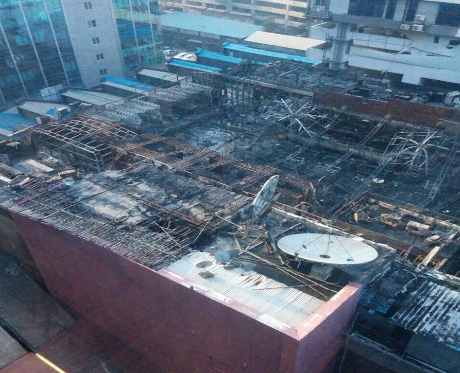 A major fire raged through Mumbai's tony Kamla Mills Compound, killing 14 on the night of December 29. Photo: Courtesy Kanchan Srivastava