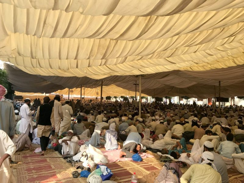 Men listen to speeches on the grounds of a mosque and madrassa complex on the outskirts of Rabwah in Pakistan. Photo: Reuters / Saad Sayeed