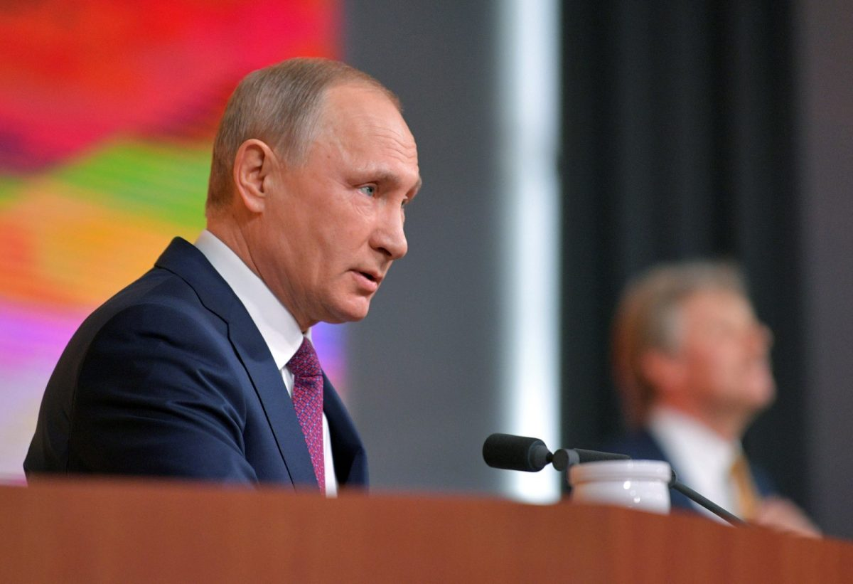 Russian President Vladimir Putin speaks during his annual end-of-year news conference in Moscow on December 14, 2017. Photo: Reuters via Sputnik / Alexei Druzhinin