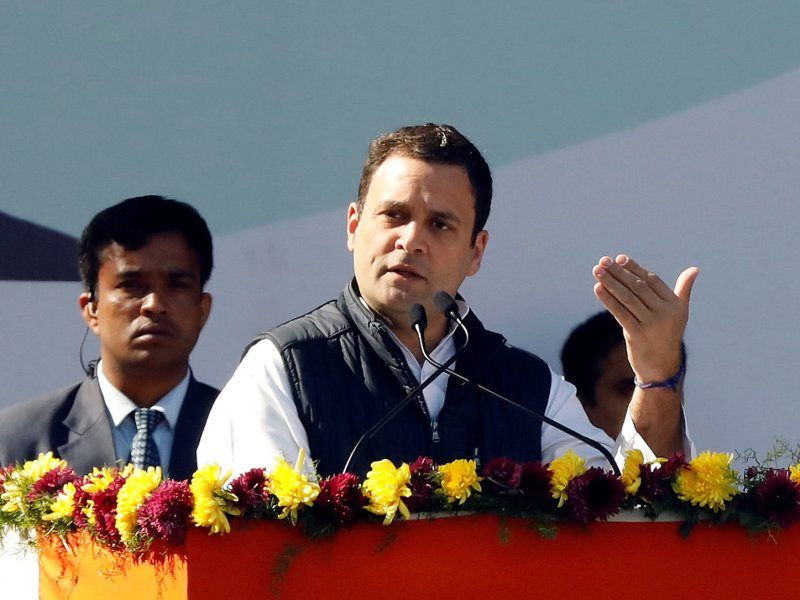 Rahul Gandhi addresses supporters after taking over as Congress leader  in December last year. Photo: Reuters