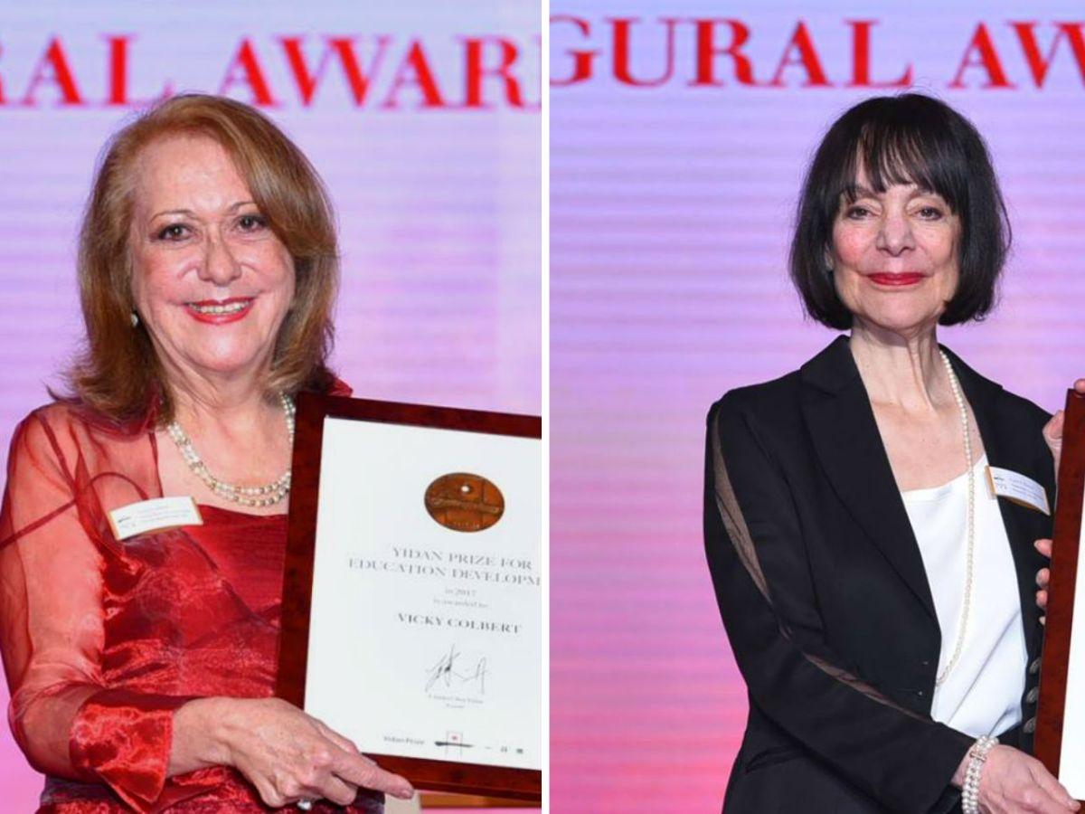 Vicky Colbert (left), recipient of the Yidan Prize for Education Development, and Carol S. Dweck (right), recipient of the Yidan Prize for Education Research. Photos: Yidan Prize Facebook page