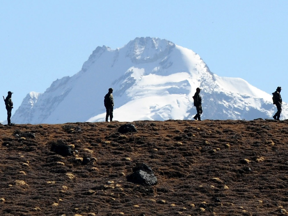 Chinese troops are seen patrolling the Doklam Plateau. Photo: AFP