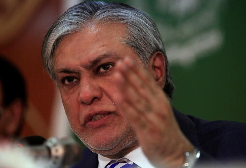 A file photo of Pakistani Finance Minister Ishaq Dar, seen during a news conference in Islamabad on May 25, 2017. Dar is on 'sick leave' and also fighting corruption charges. Photo: Reuters/Faisal Mahmood