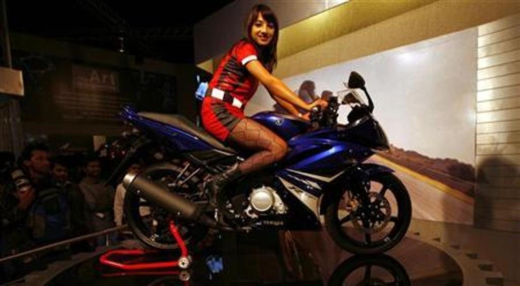 A Yamaha motorbike on display during the 9th Auto Expo in New Delhi. Photo: Reuters