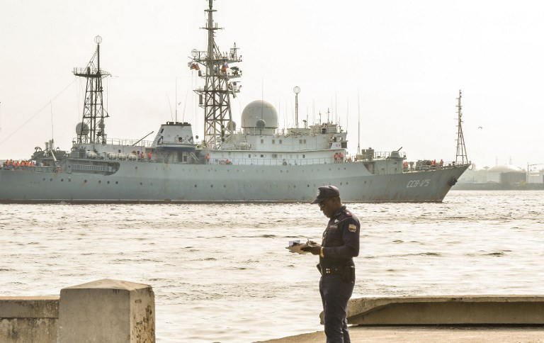 Russian intelligence-gathering ship Viktor Leonov. Photo: AFP/Adalberto Roque