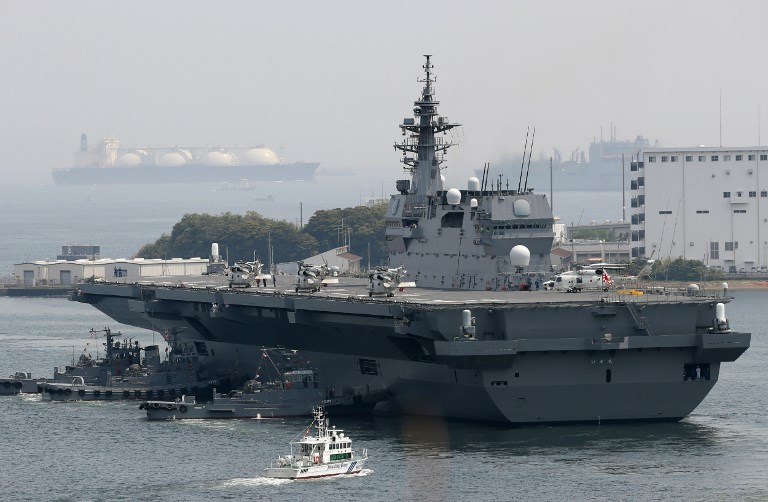 Japan's Maritime Self Defense Forces helicopter carrier Izumo sails out from Yokosuka Base. Photo: AFP