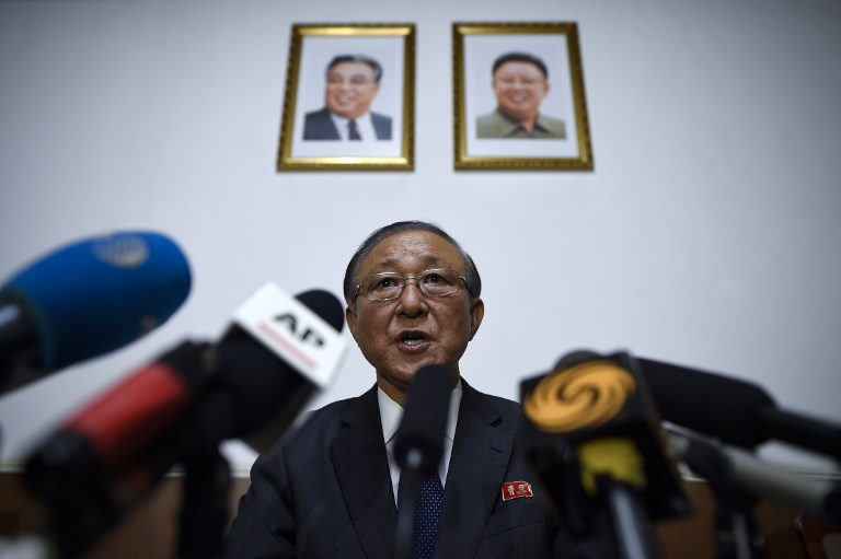 North Korea's ambassador to China Ji Jae-Ryong speaks to journalists during a press conference at the North Korean Embassy in Beijing in May. Photo: Reuters/Wang Zhao