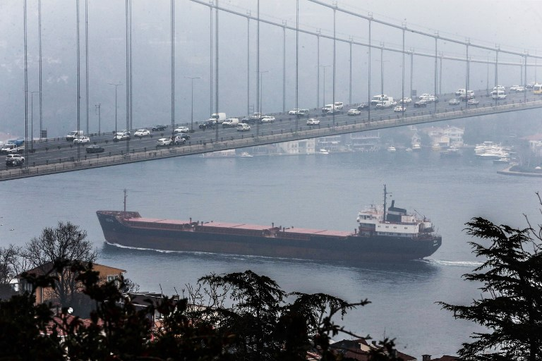 A transport ship passes through the Bosphorus in Istanbul. Photo: Anadolu Agency via AFP / Berk Ozkan