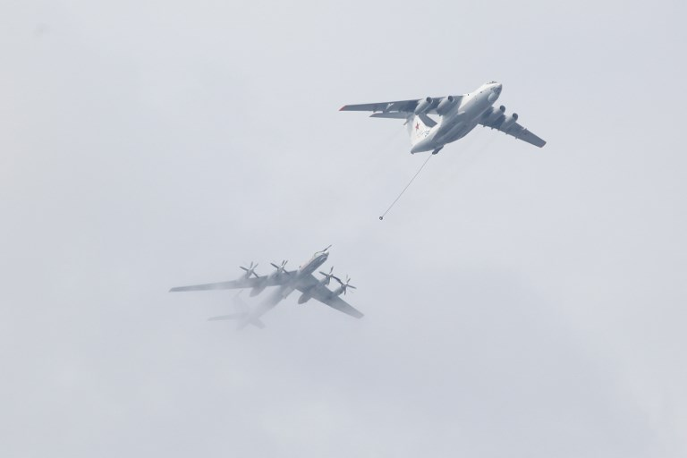A Tupolev Tu-142 maritime reconnaissance and anti-submarine warfare aircraft (L) and Ilyushin Il-78 aerial refuelling tanker. Photo: NurPhoto via AFP / Valya Egorshin
