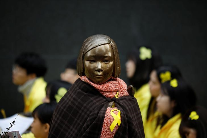 A statue symbolizing former South Korean 'comfort women' is seen during an anti-Japan rally  in Seoul, on March 1, 2017.  Photo: Reuters / Kim Hong-Ji