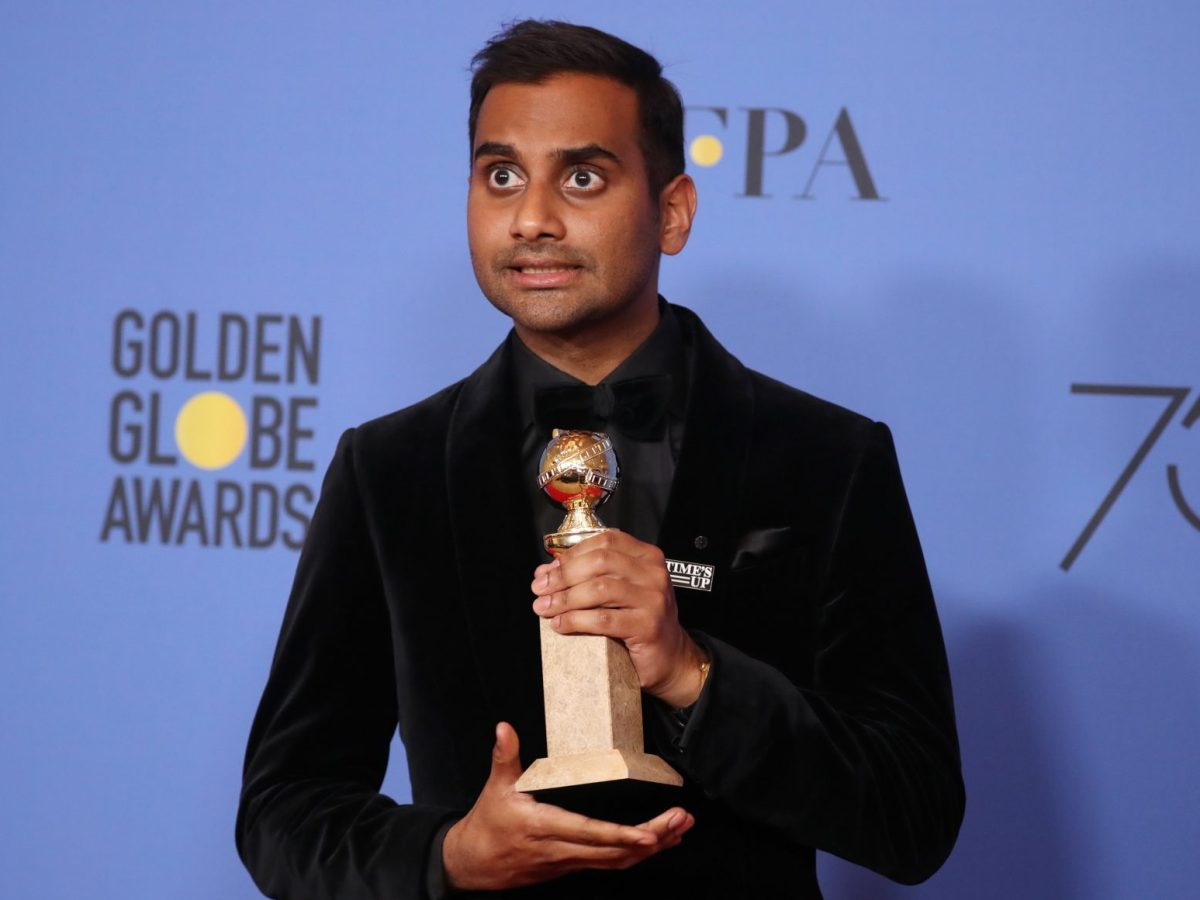At the 75th Golden Globes, Aziz Ansari poses with the award for Best Performance by an Actor in a Television Series - Musical or Comedy for 'Master of None.' Photo: Reuters / Lucy Nicholson