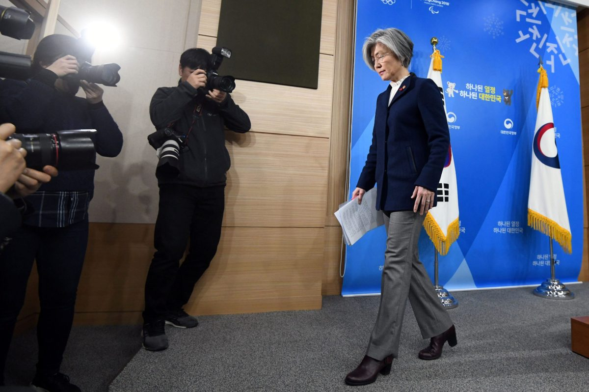 """South Korea's Foreign Minister Kang Kyung-Wha finishes up a briefing on the 2015 South Korea-Japan agreement over South Korea's """"comfort women"""" issue at the Foreign Ministry in Seoul, on January 9, 2018. Photo: Reuters: Jung Yeon-Je"""